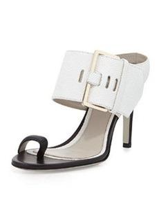 Jason Wu Lizard-Print Buckled Slide Sandal, White