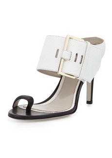Jason Wu Lizard-Print Buckled Slide Sandal, White