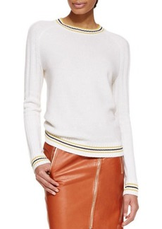 Jason Wu Long-Sleeve Cashmere Knit Pullover Sweater, Ivory
