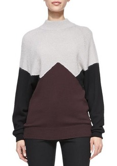 Jason Wu Long-Sleeve Colorblock Pullover Sweater, Black/Eggplant