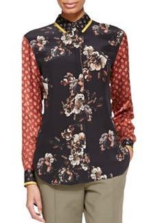 Jason Wu Long-Sleeve Floral/Paisley Silk Blouse, Black/Red/Multi