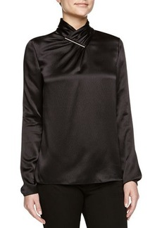 Jason Wu Long-Sleeve Hammered Silk Blouse, Black