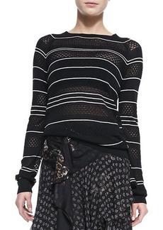 Jason Wu Long-Sleeve Knit Striped Silk Pullover Sweater