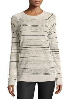 Jason Wu Long-Sleeve Knit Striped Silk Pullover Sweater, Ivory