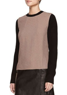 Jason Wu Long-Sleeve Knit/Leather Combo Tunic Dress, Taupe