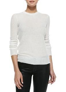 Jason Wu Long-Sleeve Sheer Ribbed Pullover, Ivory