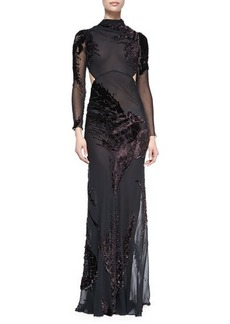 Jason Wu Long-Sleeve Silk Chiffon Cutout Gown W/ Velvet