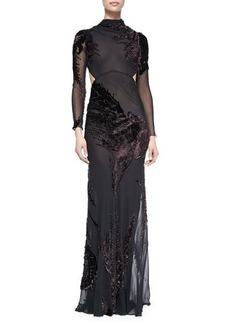 Jason Wu Long-Sleeve Silk Chiffon Cutout Gown with Velvet, Eggplant/Black