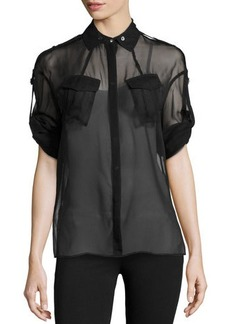 Jason Wu Long-Sleeve Silk Utility Shirt, Black