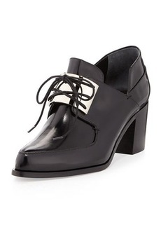 Jason Wu Metal-Vamp Oxford Chunky Heel Pump, Black