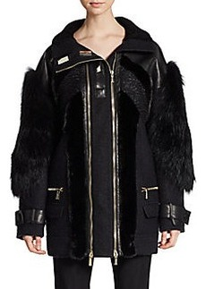 Jason Wu Mink & Fox Fur-Trimmed Double-Zip Jacket