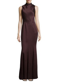Jason Wu Mock-Neck Cutout Bias-Cut Gown