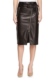 Jason Wu Moto Leather Pencil Skirt, Black