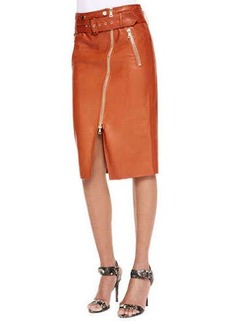 Jason Wu Moto Leather Pencil Skirt, Rust