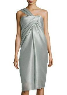 Jason Wu One-Shoulder Organza Drape Dress, Dark Sage