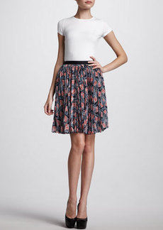 Jason Wu Pleated Floral-Print Skirt