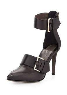 Jason Wu Pointed-Toe Double-Buckle Pump, Black