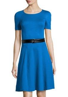 Jason Wu Ponte Short-Sleeve Dress with Belt