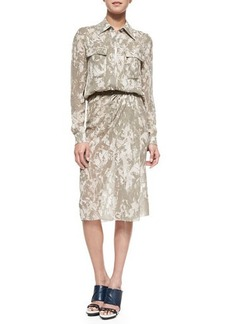 Jason Wu Printed Button-Down Belted Shirtdress