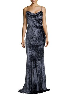 Jason Wu Printed Jacquard Bias-Cut Slip Gown