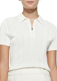 Jason Wu Ribbed Knit Polo Top with Zip