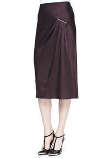 Jason Wu Satin Crepe Midi Skirt, Eggplant