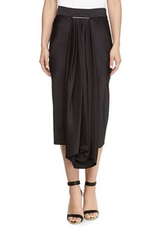 Jason Wu Satin Draped Overlay Tie-Bar Skirt
