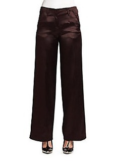 Jason Wu Satin-Finish Silk & Wool Wide-Leg Trousers
