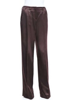 Jason Wu Satin Wide-Leg Trousers, Eggplant
