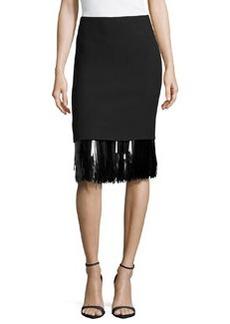 Jason Wu Sequin Fringe Hem Skirt, Black