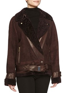 Jason Wu Sheepskin & Embossed Wool Moto Jacket