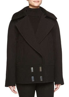 Jason Wu Sheepskin-Collar Double-Breasted Pea Coat