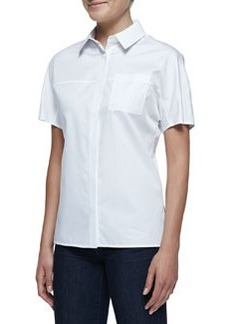 Jason Wu Short-Sleeve Button-Front Cotton Shirt