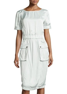 Jason Wu Short-Sleeve Cargo Dress, Pale Sage