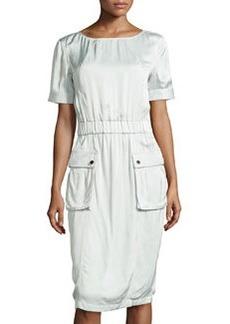 Jason Wu Short-Sleeve Cargo Dress, Pale Sage