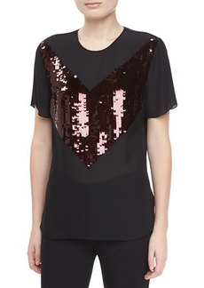 Jason Wu Short-Sleeve Jersey Sequin T-Shirt