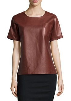 Jason Wu Short-Sleeve Leather Tee, Sienna Brown