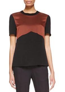 Jason Wu Short-Sleeve Rib-Trim Shirt, Mahogany/Black