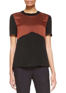 Jason Wu Short-Sleeve Rib-Trim Shirt, Mahogany/Black