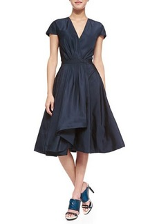 Jason Wu Short-Sleeve Silk Flounce Dress
