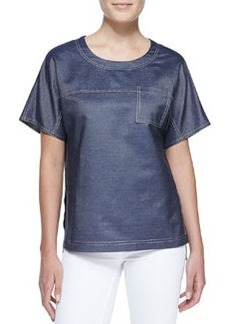 Jason Wu Silk Denim Short-Sleeve Tee