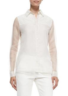 Jason Wu Silk/Lace Combo Shirt, Chalk