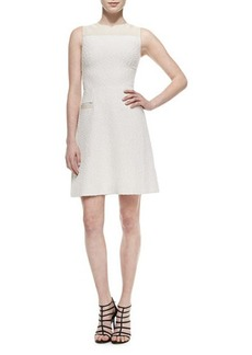 Jason Wu Sleeveless A-Line Dress W/ Leather Trim