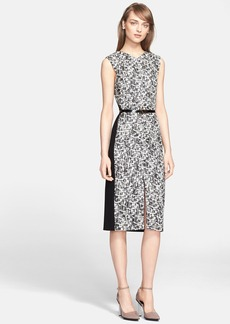Jason Wu Sleeveless Abstract Print Ponte Knit Dress with Belt