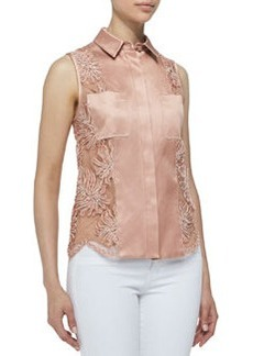Jason Wu Sleeveless Button-Down Corded Lace Shirt