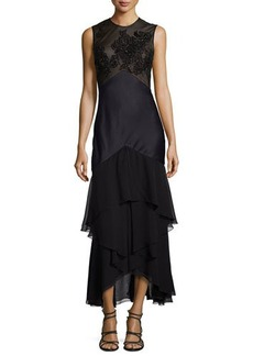 Jason Wu Sleeveless Crepe Dress with Tiered Skirt