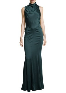 Jason Wu Sleeveless Mock Neck Bias-Cut Gown