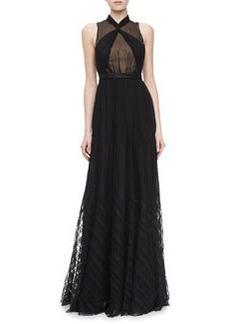 Jason Wu Sleeveless Pleated Draped Gown, Black