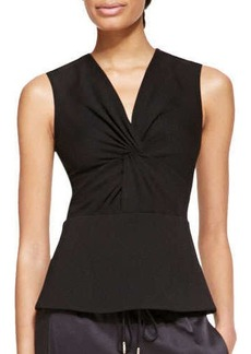Jason Wu Sleeveless Ponte Jersey Twist Top, Black