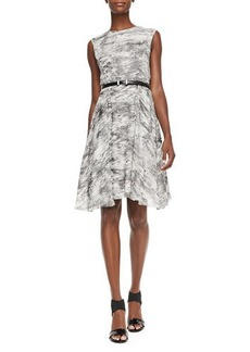 Jason Wu Sleeveless Printed Dress W/ Belt